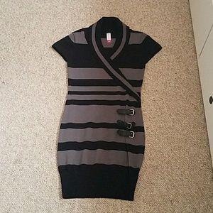 Dresses & Skirts - Black and Grey Striped Dress